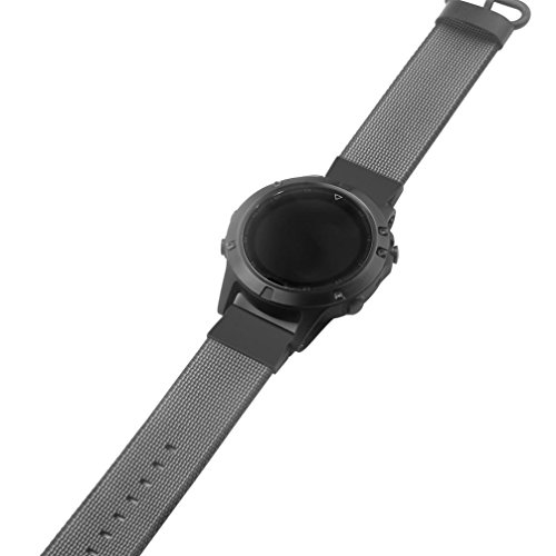 (Lisin Woven Nylon Strap Replacement Quick Release Easy Fit Band for Garmin Fenix 5 (Black))