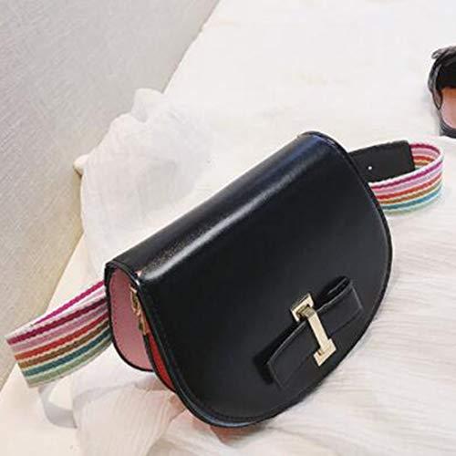 Black De Hombro Mujer Moda color Pu Diagonales Cuero La Bolso Klerokoh Trasero Bolsos q7wgSRq