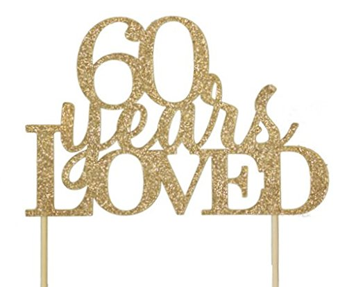 All About Details Gold 60-Years-Loved Cake - 60th Birthday Cake Topper Gold