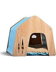 thematys® Domek dla psa do użytku wewnątrz | miejsce do spania dla zwierząt domowych | wytrzymały domek dla psów z materiałowym dachem + dodatkowe poduszki