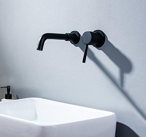 CZOOR Schwarz Bad einzigen Griff Waschbecken Wasserhahn an der Wand montierte Bad Wasser Mixer Heiß Kalt Waschbecken Wasserhahn Auswurfkrümmerdrehung Krane Tippen