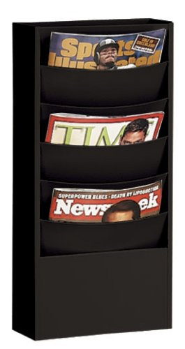 Buddy Products Eclipse 5 Pocket Curved Steel Literature Rack, 4.5 x 20.375 x 9.75 Inches, Black (0861-4) ()