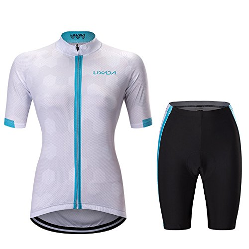 Lixada Women's Full-zip Short Sleeve Cycling Suits Breathable Quick Dry Jersey Shirts + 3D Gel Padded Shorts Comfortable MTB Road Bike Biking Clothing Sportswear