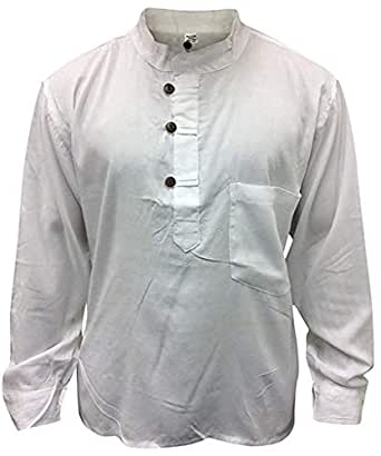 Shopoholic Fashion Men Hippie Linen Collarless Grandad Shirt(4XL,White)