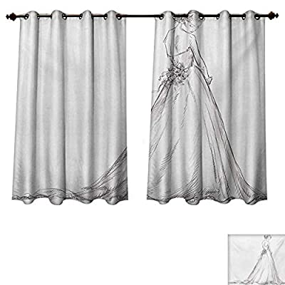 RuppertTextile Bridal Blackout Thermal Curtain Panel Fairytale Ending of a Love Story Princess Sketchy Bride with Flowers Image Patterned Drape for Glass Door Black and White
