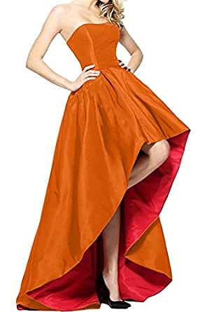 HATAIL Women's Prom Dresses Long A Line Strapless High Low Evening Party Gowns