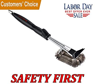 """SAFETY Grill Brush - Grill Brush with Unique Safe Handle Design. Best 18"""" Barbecue Grill Cleaner. BBQ Brush for All Grills. Stainless Steel Woven Wire 3 in 1 Bristles Grill Cleaning Brush and Scraper by Safety Grill Brush"""