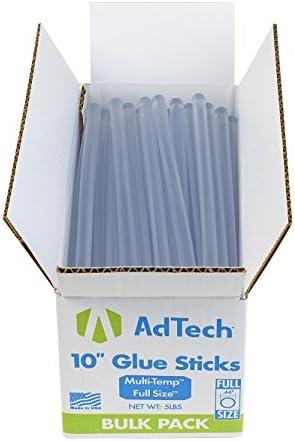 AdTech 10 inch Hot Sticks Full-Size Multi-Temp 5-lb BOX All-Purpose Glue Sticks-7/16 X10 5lb, 5 POUND, Clear