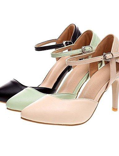 LEI&LI Zapatos de mujer - Tacón Stiletto - Tacones / Puntiagudos - Tacones - Oficina y Trabajo / Vestido / Casual - Semicuero - Negro / Beige , green , us8.5 / eu39 / uk6.5 / cn40