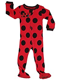 Elowel Baby Girls footed polka dot pajama sleeper 100% cotton (size 6M-5Years)