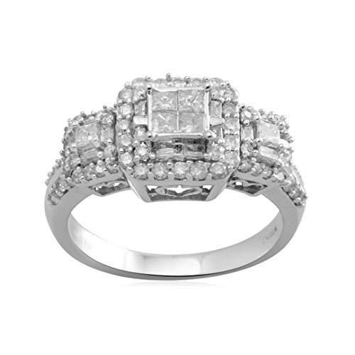 Jewelili 10K White Gold Princess Cut Center Diamond Engagement Ring (1 cttw), Size 6