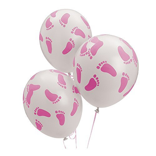 24 Baby Shower Party Pink Footprint Latex Balloons 11