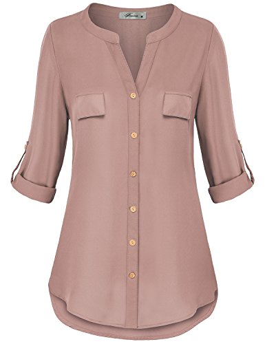 Finice Flowy Shirts for Women, Misses Clothing Split V Neck Blouse Rolled Up Sleeve Button Down Tunic Versatile A-Line Solid Color Chiffon Going Out Top for Work Dark Pink ()