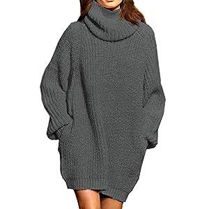 Viottiset Femmes Robe Pull en Tricot De Noël pour Femmes Pull à Manches Longues Et Col Roulé