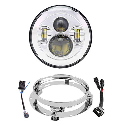 7 Inch LED Headlight With Mounting Bracket DOT Motorcycle Headlamp Kit For Touring Street Glide Road King Ultra Classic Electra Glide Fat Boy Tri Cvo Heritage Softail Slim Delux Ultra Limited Chrome