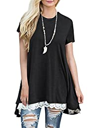 Womens Lace Short Sleeve A-Line Tunics Blouse Shirt Tops