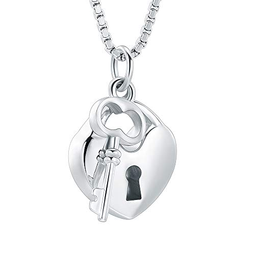 - mingkejw Cremation Jewelry for Ashes Stainless Steel Key with My Heart Urn Pendant Memorial Ash Holder Keepsake Necklace(Silver)