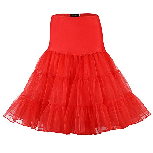 (HiQueen 50s Vintage Red crinoline Petticoat, Slip Tutus Underskirts for women,Red,X-Large)