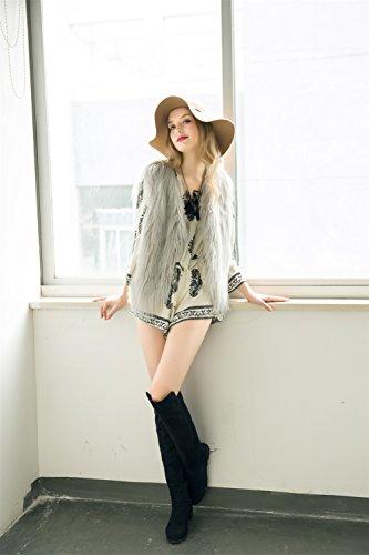 Vlunt mujer piel sintética Chaleco Chaleco Chaleco de Shaggy pelo largo  Chaleco Sin Mangas Chaqueta Outwear Chaleco Gris gris  Amazon.es  Ropa y  accesorios d657e26c3362