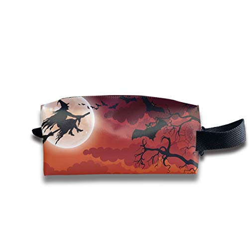 Halloween Pumpkins Bats and A Wicked Witch Flying On Her Broomstick Multi-Function Key Purse Coin Cash Pencil Travel Makeup Toiletry Bag Box Case