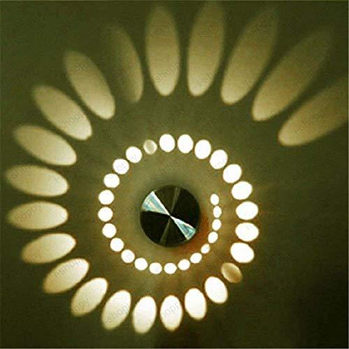 OWIKAR Spiral LED Wall Light, 3W Dimmable LED Wall Sconce Hi-Brightness Light Fixture Aluminum Sconce Ceiling Light Aisle Bedroom Vestibule Foyer Cafe Corridor Decoration Light (Warm White) by OWIKAR (Image #4)