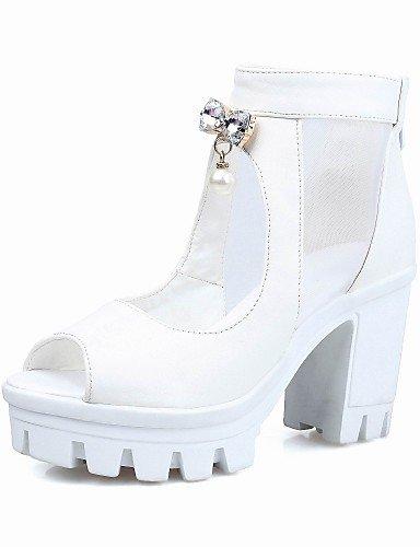 Exterior LFNLYX Sandalias Abierta Blanco White Negro Punta Robusto mujer Tacones de Vestido Semicuero Zapatos Tacón 8pzqS