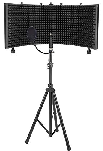 (Rockville Recording Studio Microphone Isolation Shield+Tripod Stand+Pop Filter)