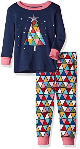 (Gymboree Baby Girls 2-Piece Tight Fit Long Sleeve Long Bottoms Pajama Set, Navy Stained Glass Tree, 12-18 Mo )