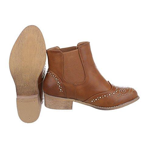 Ital-Design - Botines Chelsea Mujer marrón claro