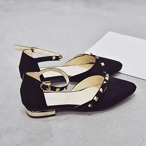 punta Flat Strisce B con Ballerine a Shoes 39 rivetti Black Baosity fibbia Elegant 37 wXq4xpqH