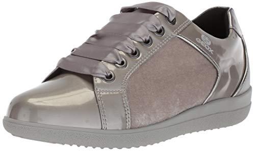 Geox Women's Nihal 7 Velvet & Patent Fashion Sneaker, Light Grey, 35 Medium EU (5 US) ()