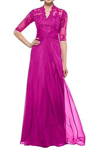 Abendkleider Damen Langarm Braut Festlichkleider Partykleider La Lang Promkleider Pink Spitze Brautmutterkleider Gruen mia 5tIYWwwqOf