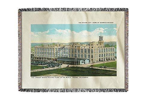 - Lantern Press Fresno, California - Exterior View of Sun-Maid Raisin Plant 11525 (60x80 Woven Chenille Yarn Blanket)