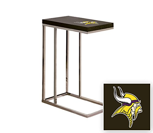 Black Laminate (Formica) and Chrome Finish Slide-Under TV Tray/End Table with Your Choice of Football Team Logo (Vikings)