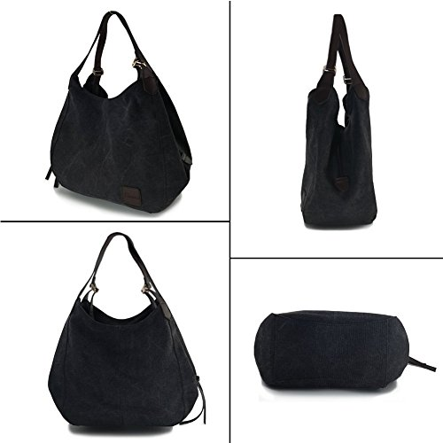 Women's Everyday Casual Shoulder Bags - Canvas Hobo Handbag Cotton Totes Purses Grey by Dzzzzc (Image #2)
