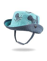 JANGANNSA Summer Baby Boys Hat Sun Protect Bucket Hat for Girls Wide Brim Cotton Beach Cap (0-2 Years)
