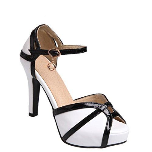 YE Damen Peep Toe Knöchelriemchen Sandalen Lack Stiletto High Heels Plateau mit Schnalle 8cm Absatz Elegant Schuhe Weiß