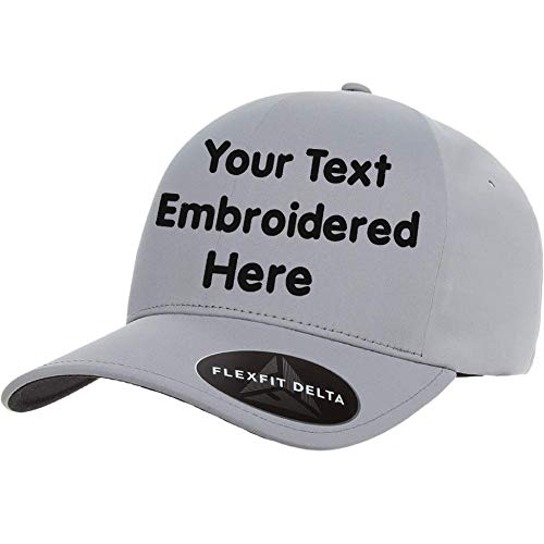 (Custom Hat Flexfit Delta 180 Premium Cap. Embroidered. Your Own Text Curved Bill (Flexfit Delta 180 Seamless Cap L/XL, Delta Silver))