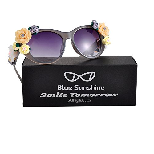 Sunglasses for Women Oversized Cat Eye Glasses Flowers Sunglasses Beach On Vaction UV400 Protection