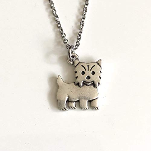 Yorkshire Terrier Dog Necklace on Stainless Steel Chain - Dog Breed Jewelry - Yorkie Mom Gift