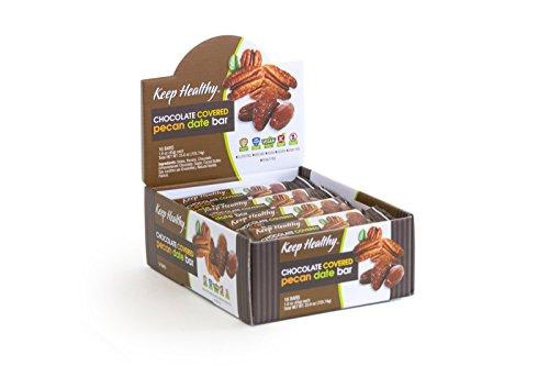 Keep Healthy Chocolate Covered Pecan Date Bars | Certified Non-GMO, Vegan, Gluten Free, Kosher | 1.6-Ounce 16 Bars per Box