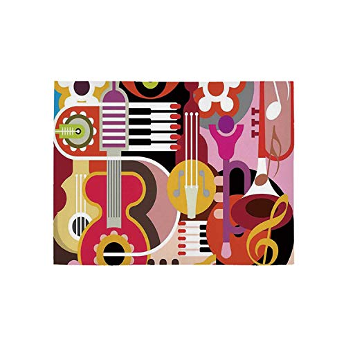 Music Decor Utility Area Rug,Complex Graphic with Various Musical Properties Icons Keyboard Festival Piano Party Art Design for Home,31