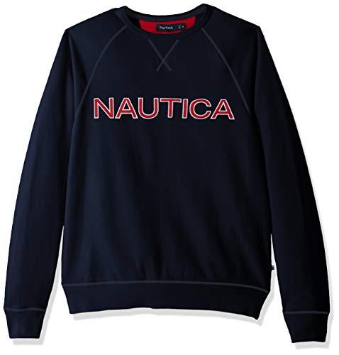 Nautica Men's Long Sleeve Solid French Rib Crew Neck Sweatshirt, Navy, Medium ()