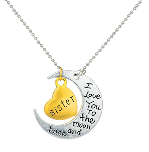 YELLOW CHIMES Sisters love special moon pendant in metal for Girls and Women