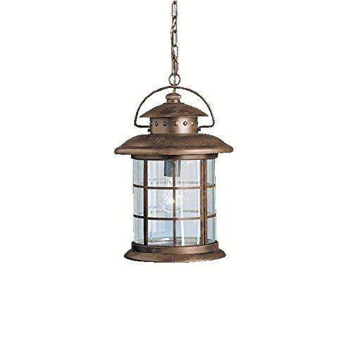(Ship from USA) Kichler 9870RST Rustic 1 Light Outdoor Hanging Pendant in Rustic /ITEM NO#E8FH4F85467245