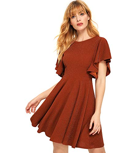 Romwe Women's Stretchy A Line Swing Flared Skater Cocktail Party Dress Orange Red M
