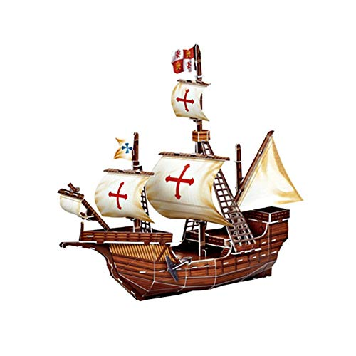 (3D Model of Puzzle Toys, Paper Assembly Boats - Pirate Ship - Santa Maria)