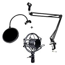 Wanway Microphone Stand + Shock Mount + Pop Filter,Mic Microphone Studio Broadcast Suspension Boom Scissor Arm Stand Holder with Shock Mount and Wind Screen Pop Filter/ Swivel Mount / Mask Shied