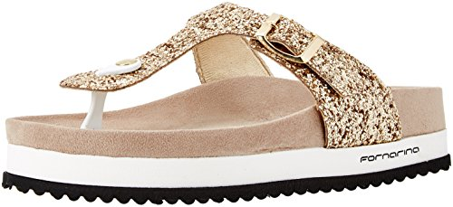 Fornarinaflip Flops Woman Wedge Glittery Gold Star Pattern 2 PE18SA2911G091 New Spring Summer Collection 2018 - Fornarina Wedge Womens