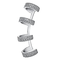 Clip on Piercing Earring With Crystals Climber Earrings In Silver